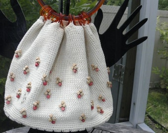Cream Crochet Woven  Handbag w/ Tortoiseshell Bottom & Round Handle, Vintage Wood Beaded Vanity Purse