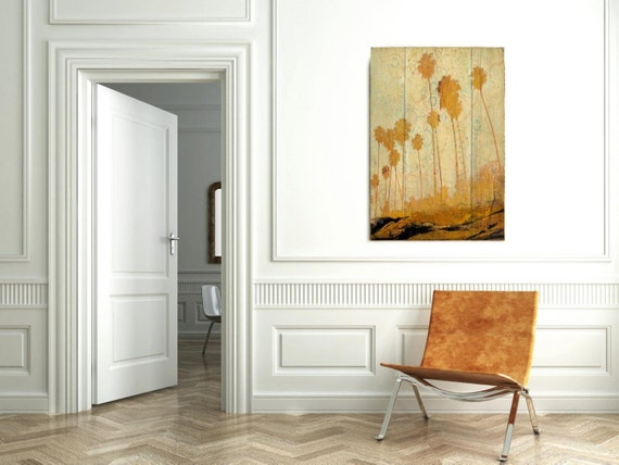 """Palms on Beach. Extra Large Yellow Rustic Palms Fine Art Canvas Print up to 72"""", Tropical Wall decor Canvas Art by Irena Orlov"""