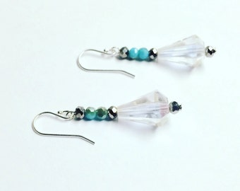 "Earrings : 925 Sterling Silver and crystal  "" Gorgeous"""