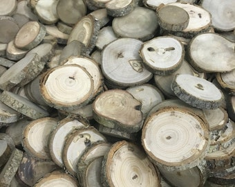 "SALE! 1""-2.25+"" - 100 Qty. 1/4"" thick Natural Wood Slice Circles - Variety Pack - TREASURY ITEM -Displays, Supply, Weddings"