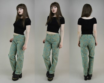 90s Does 70s Green Paisley Bootcut Flares Trousers Pants S