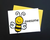 Be Awesome Greeting Card - Printed BEE AWESOME Message - Encouragement Card - Awesome Card for Kids - Cards For Anyone Awesome | Envelope