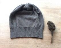 cashmere hat in mushroom , beanie, knit hat, cashmere gift