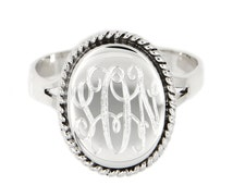 Sterling Silver Personalized Monogramed Engraved Ring Oval Shape with Rope Edge Rope Trim Signet Personalized Ring