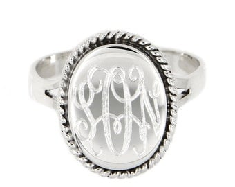 Sterling Silver Personalized Monogramed Engraved Ring Oval Shape with Rope Edge Rope Trim Signet Ring