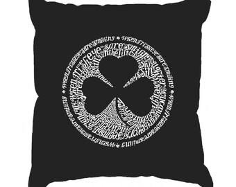 Throw Pillow Cover - Word Art - Lyrics To When Irish Eyes Are Smiling