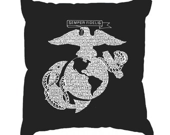 Throw Pillow Cover - Word Art - Lyrics To The Marines Hymn