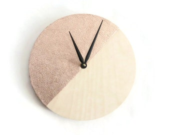 Rose Gold Wood Clock, Real Leather Clock, Home and Living, Home Decor, Decor and Housewares