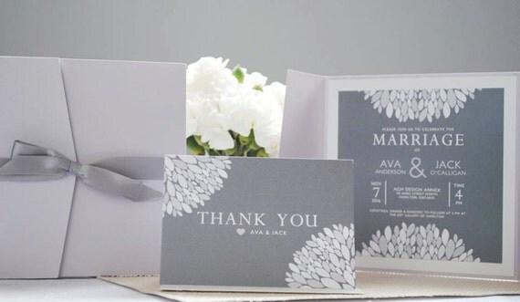 Purple and Grey invitation set