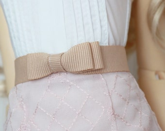 Grosgrain ribbon bow belt for SD girls . Fawn beige colour with sparkle elastic back