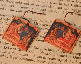 Buddha earrings bodhisattva of compassion jewelry mixed media jewelry
