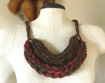 Knit Wear, Wooly Bulky Necklace