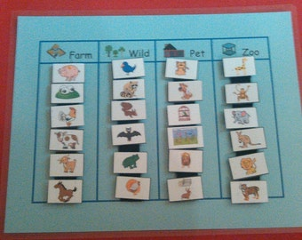 Animal VELCRO Match, Grouping, Sorting, Preschool Toys/Teacher/Learning, Animals, Animal Cards, Montessori Toddler/Learning/Toys/Preschool