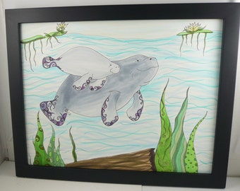 Manatee drawing, wildlife art, Colorful original art, Framed art, Momma and baby Manatee with abstract details, fantasy art