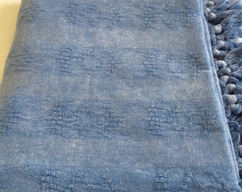 Turkish Towel Rug pattern Peshtemal towel Cotton Peshtemal Stone washed Vintage Inspired Blue Towel, genuine handloomed