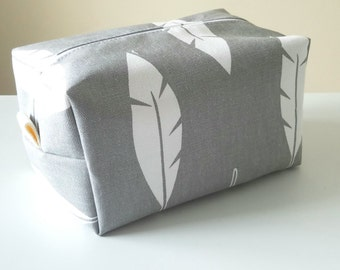 Feather Makeup Bag  - Grey Cosmetic Pouch -  Lunch Bag - Wet Bag - Waterproof Bag