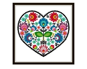 Folk Art Cross Stitch Pattern - Scandinavian Cross Stitch Pdf - Floral Cross Stitch Pattern - Heart Cross Stitch Pattern