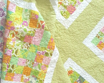 Lap Quilt - Baby Bedding - Picnic Quilt -  Modern Quilt