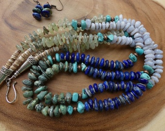 25 Inch Double Strand Four Color Freeform Rondelle Gemstone, Turquoise, and shell Heishi Necklace with Earrings