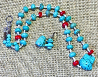 Simple 21 Inch Turquoise and Red Coral Necklace with Earrings