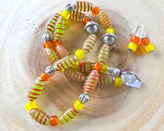 24 Inch Chunky Ethnic Boho African and Indonesian Primitive Yellow and Orange Glass Necklace with Earrings