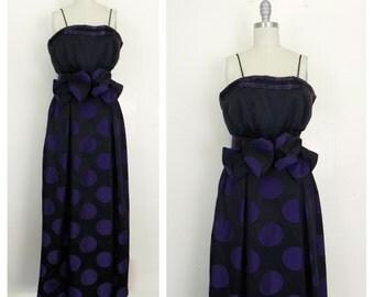 Vintage 1970s Designer Morton Myles Couture Beaded Purple Polka Dot Formal Dress
