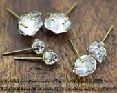 RAW HERKIMER DIAMOND Studs, Pick Stone Size From Small, Medium or Large - Aged Brass