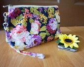 Amazing flora field purple rose makeup bag, Rose floral field zipper bag, Rosita makeup zipper bag purse , medium wristlet pouch, wristlet