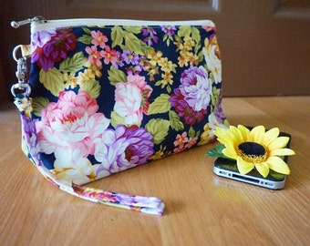 Amazing flora field purple rose makeup bag, Rose floral field zipper bag, Rosita makeup zipper bag purse , medium wristlet pouch, wristlet