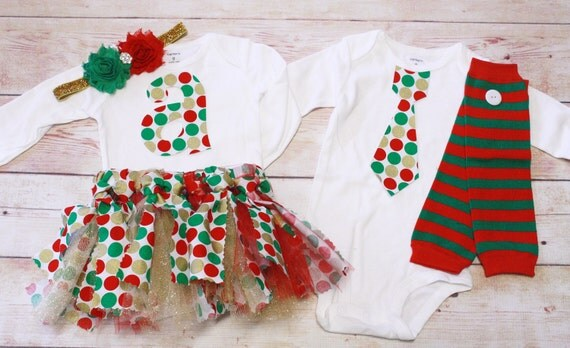 TWIN SET, Sibling Set, Brother and Sister Set, Gold, Red and Green Dotted Christmas Tie and Leg Warmers Set / Holiday Striped Leg Warmers