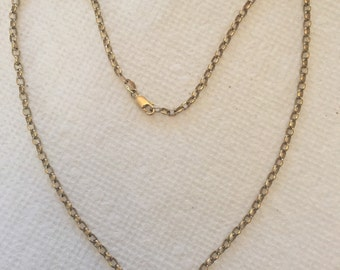 Vintage Estate Hallmarked Solid 9k Yellow Gold Rolo Belcher Link Chain Perfect for a Heavy Locket or Pendant