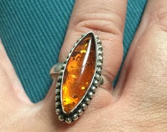 Amber Ring, Sterling Silver, 1960s Vintage Jewelry WINTER SALE