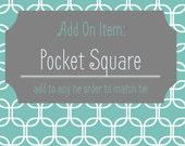 Pocket Square~Made to Order~Custom Pocket Square~Match a Tie~Wedding~Mens Pocket Square~Pocket Hankie~Father of Bride~Groomsmen~HoBo Ties