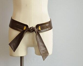 Vintage 1980s Gucci Leather Belt / 80s Brown Leather Tie Front Belt