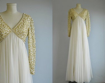 Vintage 1960s Evening Dress / 60s Cream Gold Metallic Pearl Beaded Formal Wedding Gown / NOSWT  New Old Stock with Tags