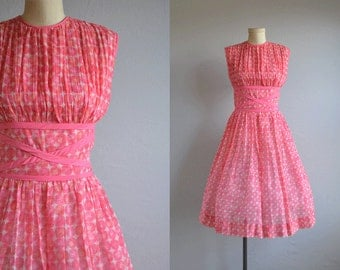 Vintage 1950s Dress / 50s Pink Cotton Dot Print Sundress with Full Gathered Circle Skirt and Bows