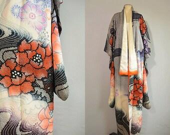 Vintage Silk Kimono / Shibori Floral Print Embroidered Kimono Robe / Furisode Navy Coral