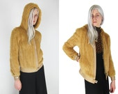 Knitted Rex Rabbit Fur Hooded Jacket