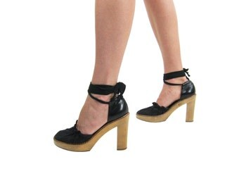 CHLOE Wooden Pumps /Black Leather + Canvas Heels