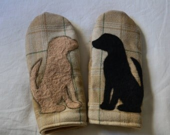 Wool mittens with felted Labrador silhouettes
