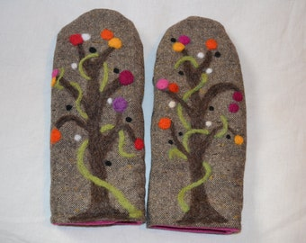 Wool mittens with felted funky trees