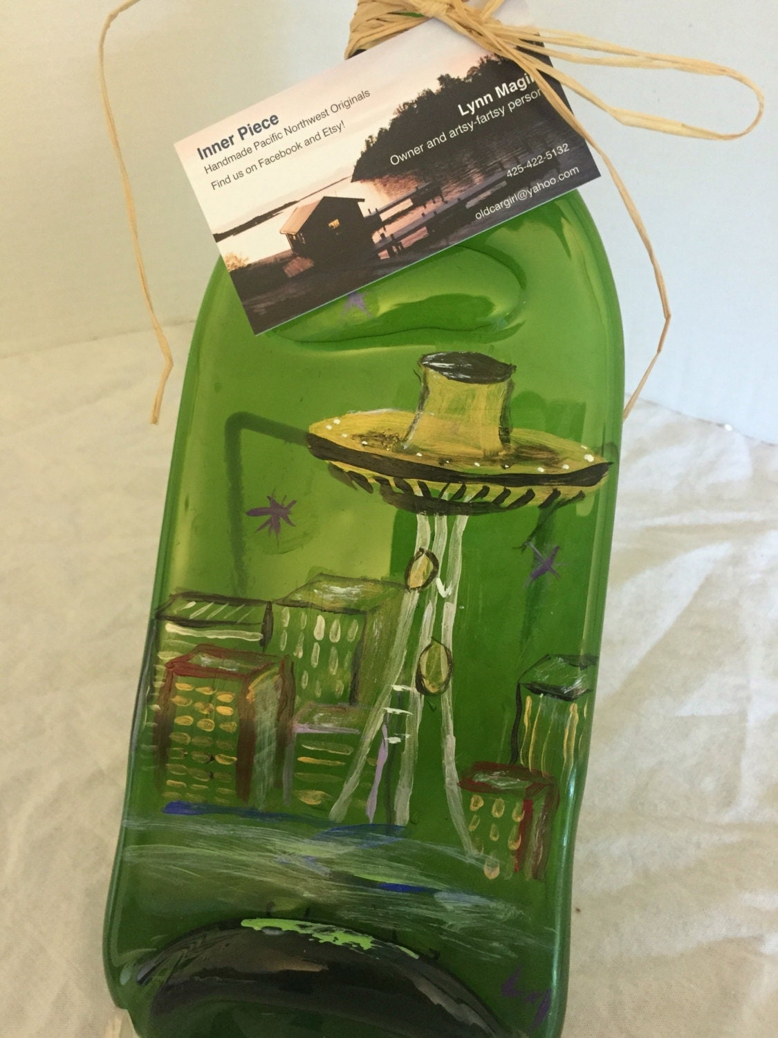 Hand Painted Seattle Green Glass Wine Bottle Cheese Tray/Platter