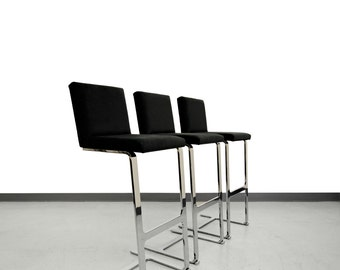 Chrome Counter Height Cantilever Bar Stools - Mies Van Der Rohe Knoll