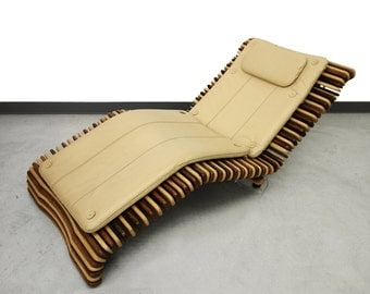 Pacific Green Hawaiian Palmwood and Leather Slat Lounge Chair