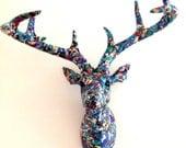 SALE Deer Faux Taxidermy - blues