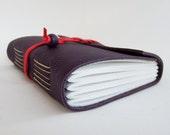 Purple Leather Notebook, Mini Sketchbook, Wrap Journal, Purple Journal, Memory Book, Hand Bound Sketchbook, Purple Leather, Bucket List