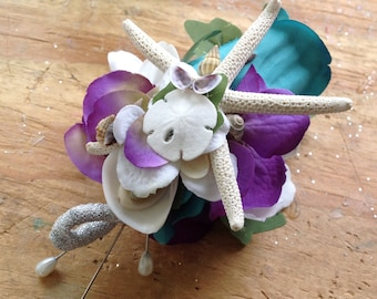 Turquoise Beach Groom's Seashell Rose and Starfish Boutonniere with lots of Tiny Seashells Purple and Silver Trim