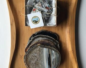agate coasters, tea cups, tea coasters, holiday gift, tea accessories, gift set, gemstones, home decor, housewarming gift, healing crystals