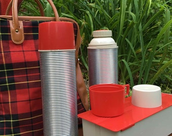 Classic Red Plaid Tote with Two Spun Aluminum Thermos and Metal Dry Container - Road Trip!