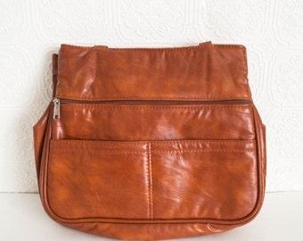 Vintage Purse Tan Vinyl Lightly Padded Laptop Tablet Carrier Workbag Schoolbag 1980s